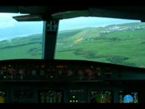 Mauritius visual approach cockpit video runway 14 SSR international airport Airbus A340-300