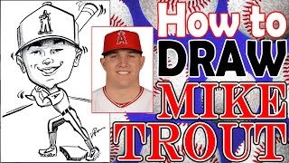 How To Draw A Quick Caricature Mike Trout with Full Baseball Body