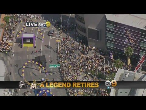 Fans Gather At Staples Center For Kobe Bryant