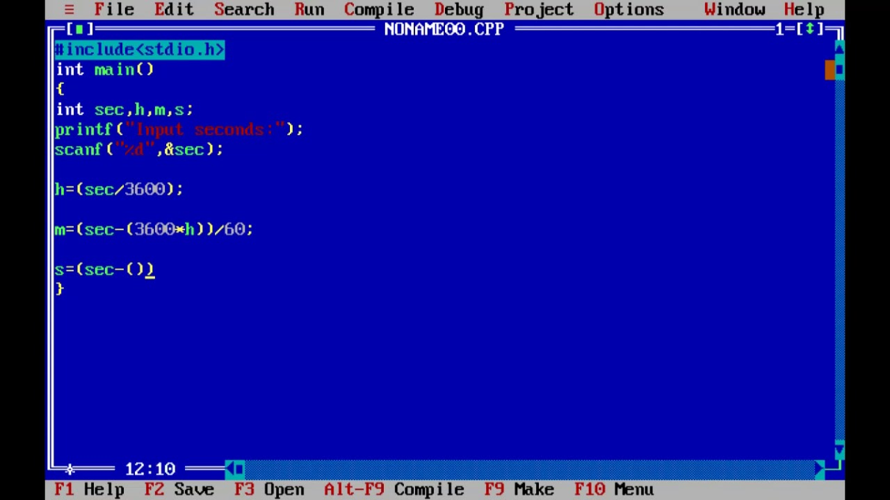C program to convert integer into hours, minutes and seconds [Turbo c++]