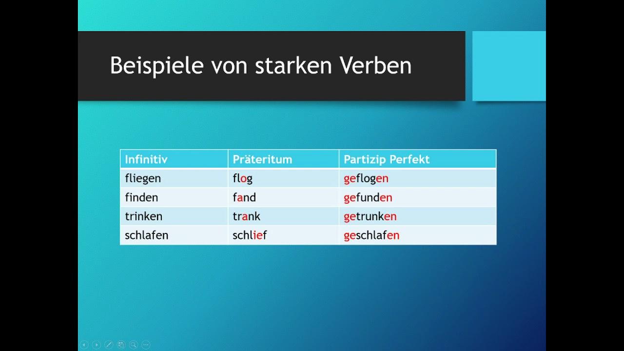 starke und schwache verben deutsch grammatik youtube