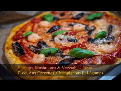 easy-homemade-pizza-recipe-shrimps,-mushrooms-&-vegetables/-recette-pizza-maison-aux-crevettes