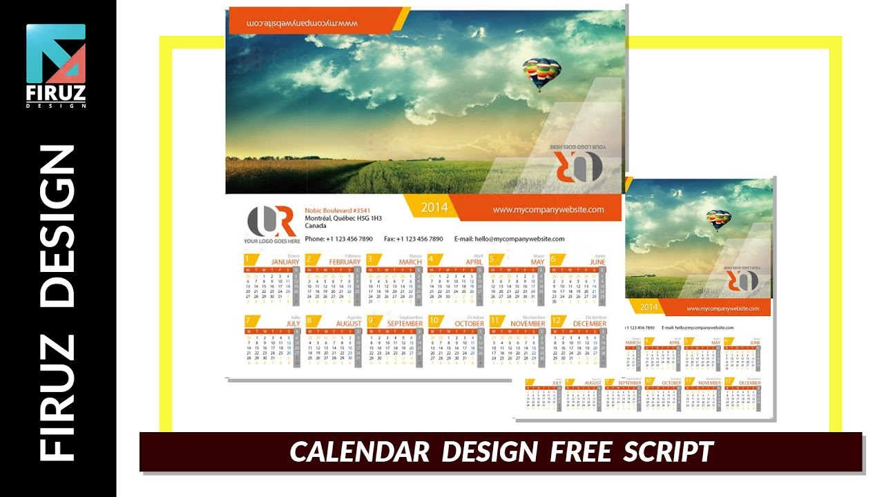 Calendar Design With Photos Free : Calendar design with illustrator free script youtube