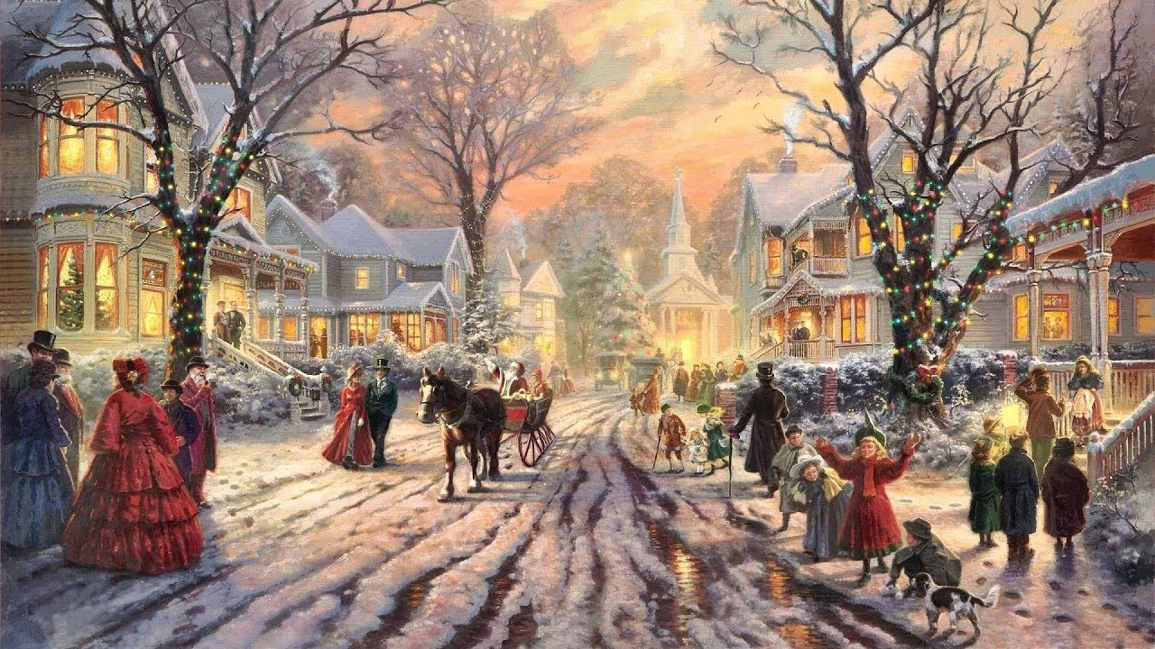 ✔️ 26 Popular Traditional Christmas Carols w/ Festive Art by Thomas Kinkade