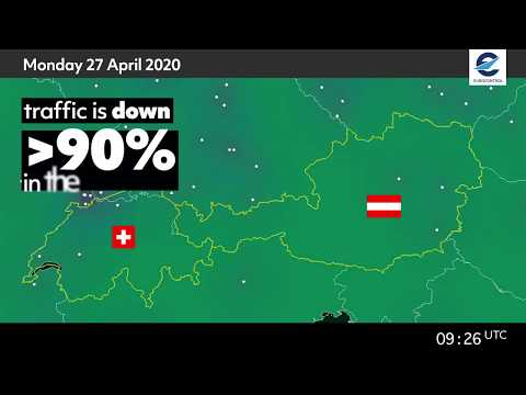 Air traffic situation over Switzerland and Austria - 27 April 2020 vs 29 April 2019