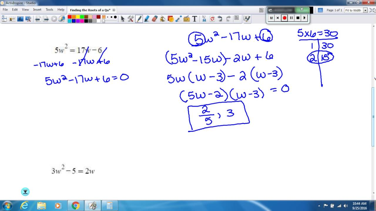 Finding The Roots Of A Quadratic Equation With Leading Coefficient Greater  Than 1