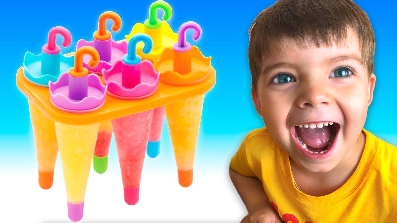 Ice Cream song | Nikki cantando a Canção das Cores e o Nikki finge brincar d |동요와 아이 노래 | 어린이 교육