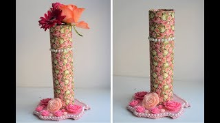 How to make Flower Vase with Paper Roll and Cardboard | DIY Flower Vase | Best Out of Waste