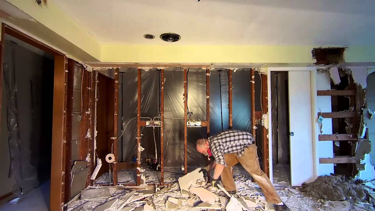 Beautiful Kitchen Demolition   Day 2   Drywall Part 2