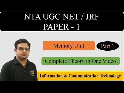 ICT UGC NET  Paper 1 Part 1 || Memory Units - CBSE UGC NET JRF Exam