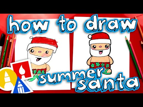 How To Draw Summer Santa