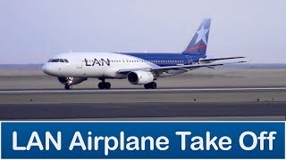 LAN airplane taking off (Avion LAN despegando)