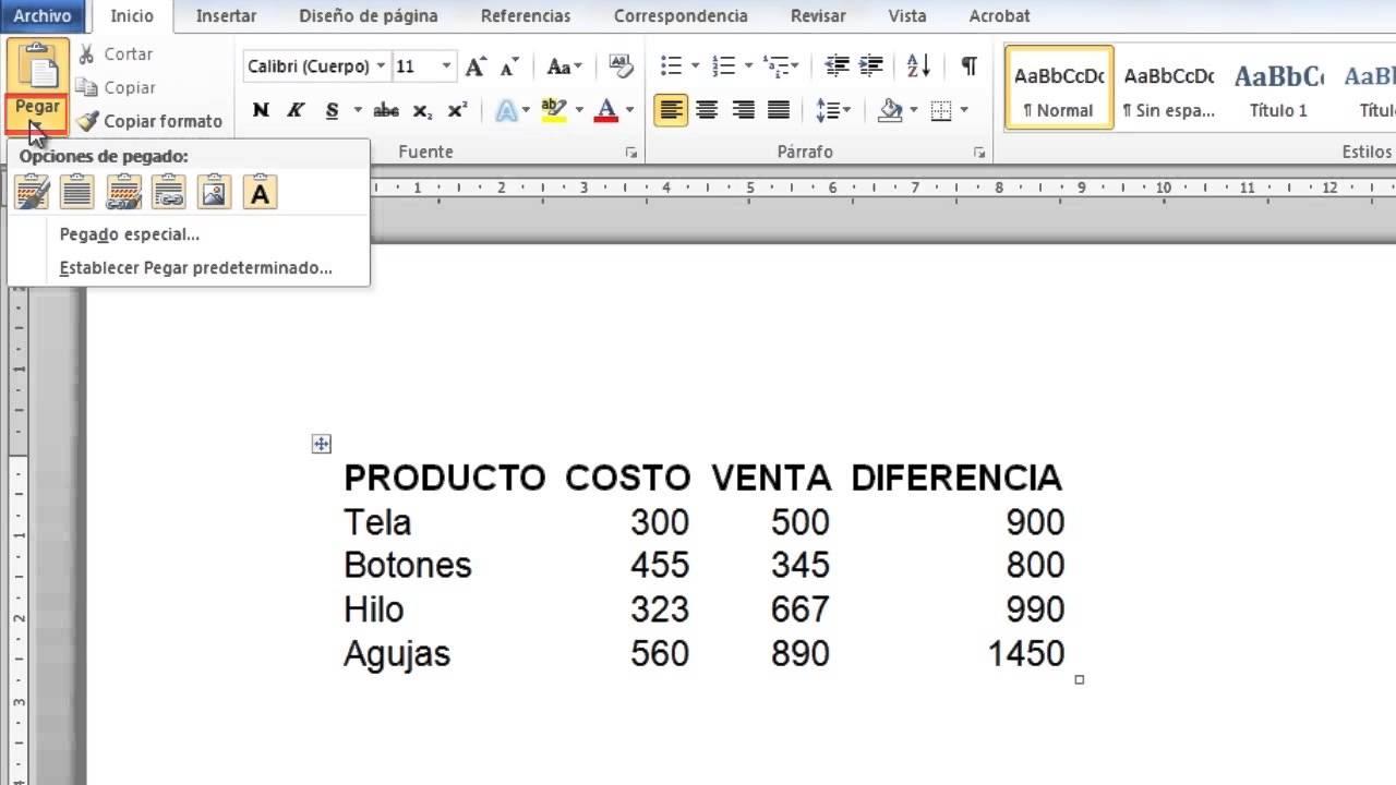 Cómo convertir una hoja de cálculo de Excel 2010 a un documento de ...