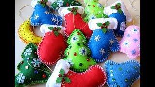 Новогодние игрушки из фетра МК. Новогодние украшения своими руками.  Christmas toys..