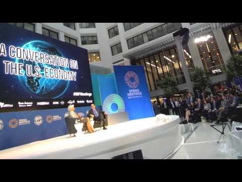 BBN with US Treasury Secretary Steven Mnuchin on Free Trade and CFIUS #IMFMeetings