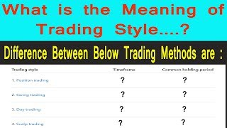 What is Trading Style | Difference Between Position | Scalp | Intraday | Swing Trade | Tamil