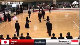(JPN)Japan (10)5 - 0(0) Singapore(SIN) - 16th World Kendo Championships - Women's Team_2R