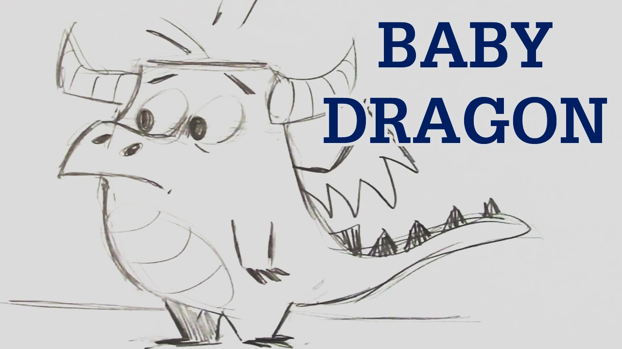 How to Draw a Baby Dragon - Easy Level - YouTube