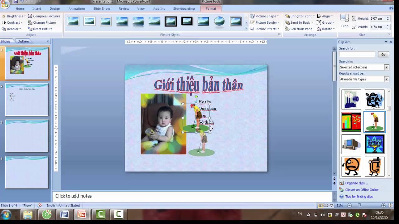 Học PowerPoint – Bài 2: Chèn ảnh, chữ nghệ thuật, nhạc, video vào Powerpoint