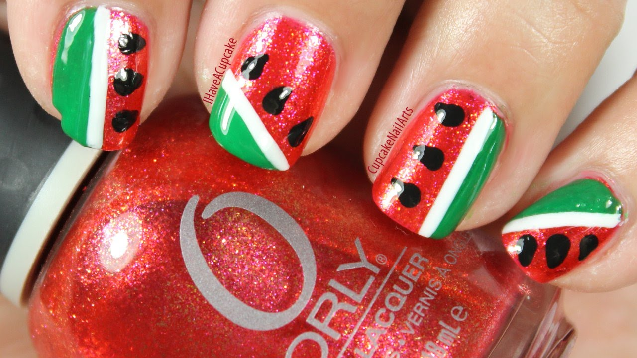 Simple Abstract Water Melon Nail Art Youtube