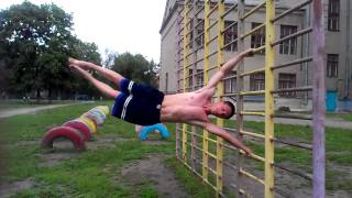 Попытка «флажка» (Street Workout) / Human flag attempt