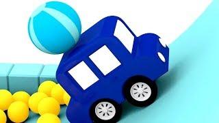 4 coches coloreados. Juegos en la piscina. Dibujos animados.