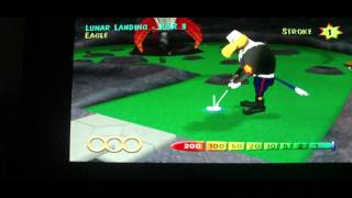 Mini golf maniacs Lunar Landing hole in one