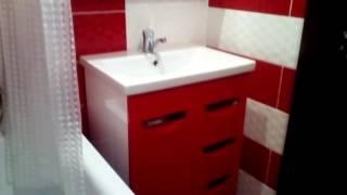 Красно-белый дизайн ванной комнаты