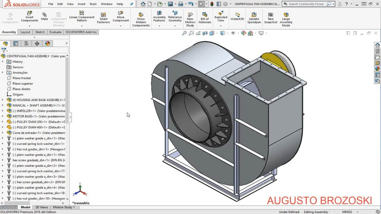 Solidworks Centrifugal Fan 01 10 Youtube