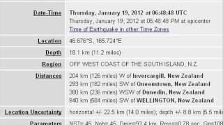 5.9 EARTHQUAKE OFF WEST COAST OF THE SOUTH ISLAND,  JAN 19 2012
