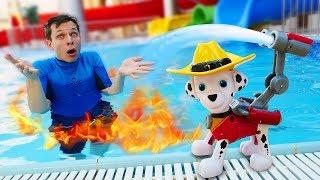 Видео с игрушками - Щенячий Патруль и Акватим тушат пожар! – Игры для детей в аквапарке.