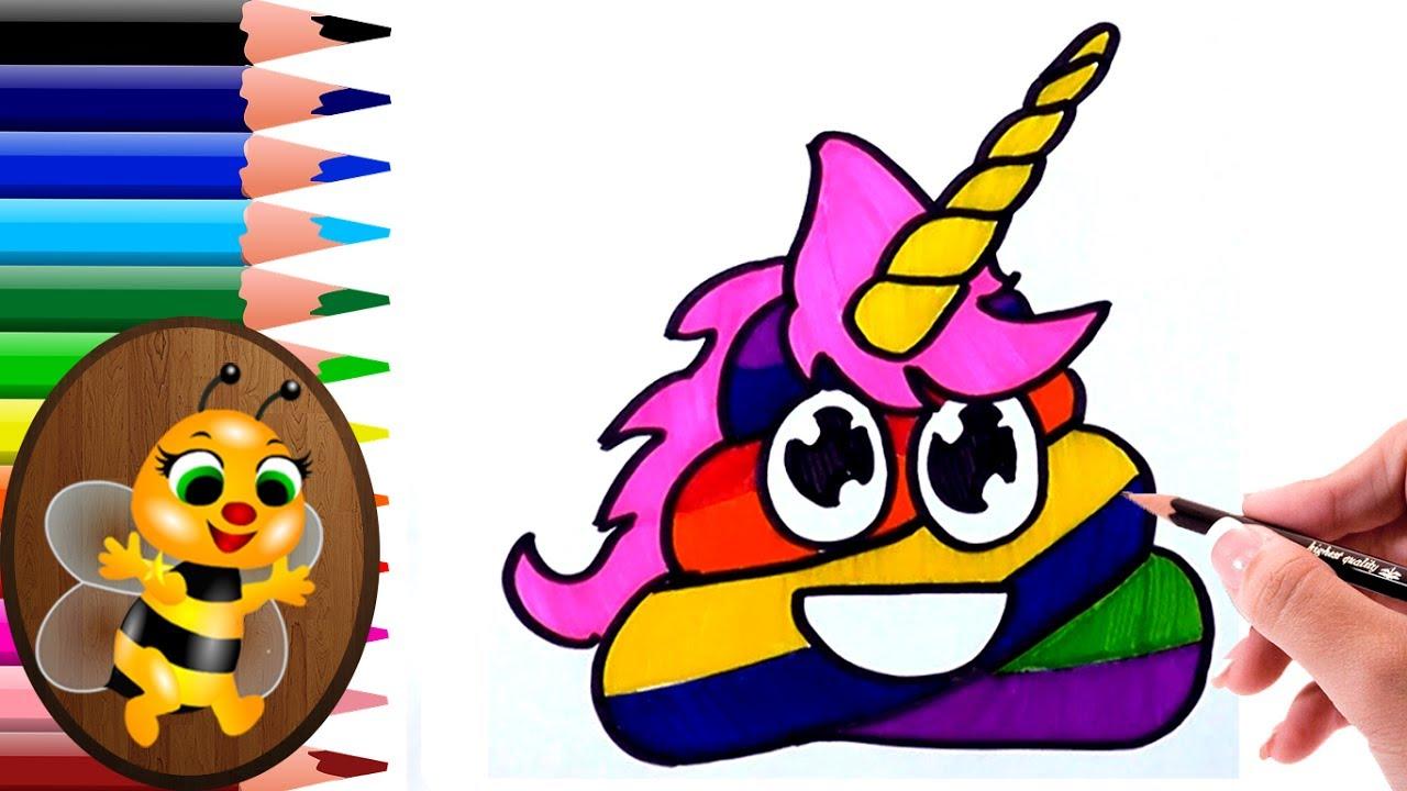 dibujando y coloreando una caca unicornio - Dibujos para ...