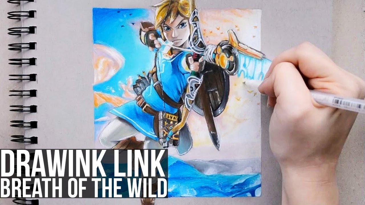 Drawing Link From The Legend Of Zelda Breath Of The Wild