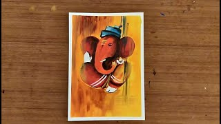 How to paint Ganesha easily with Acrylics | Abstract Ganesha Painting