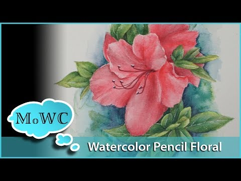 Azalea Floral Painting With Watercolor Pencil