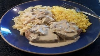 Smothered Pork Chops in Mushroom Cream Sauce - E120