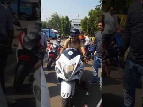 Indore DIG riding hayabusa..!