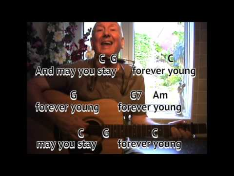 Forever Young - Bob Dylan cover - guitar lesson - on-screen chords ...