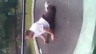 One Legged Man Bouncing On Trampoline 2