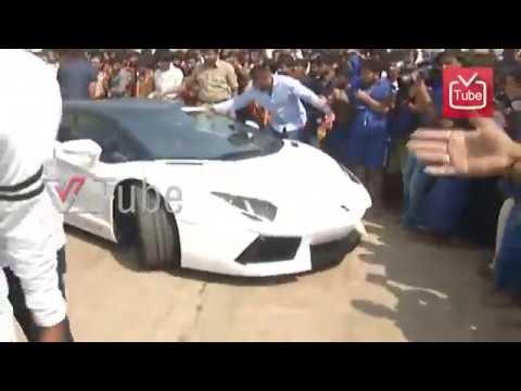 Darshan Visits Mysore Chamundi Hills In His New Lamborghini Car