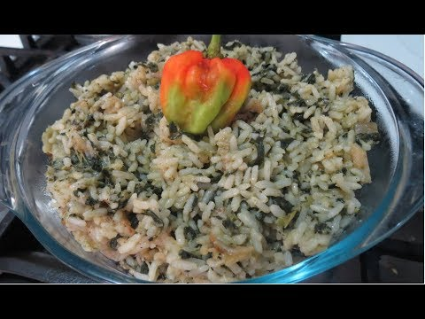 Bhagi/Bhaji Rice Recipe With Saltfish - Trinidad   Caribbean Cooking