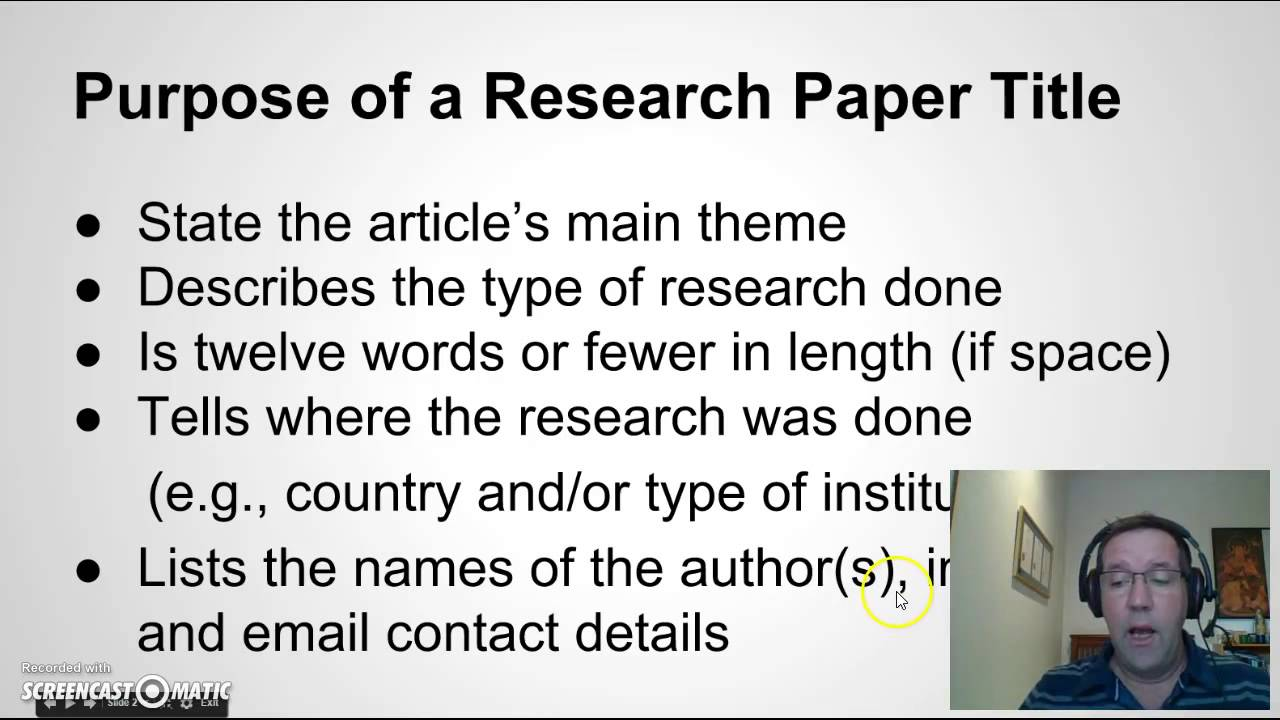 Writing a Title for your Research Paper