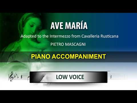Ave Maria Mascagni: Karaoke piano Low Voice