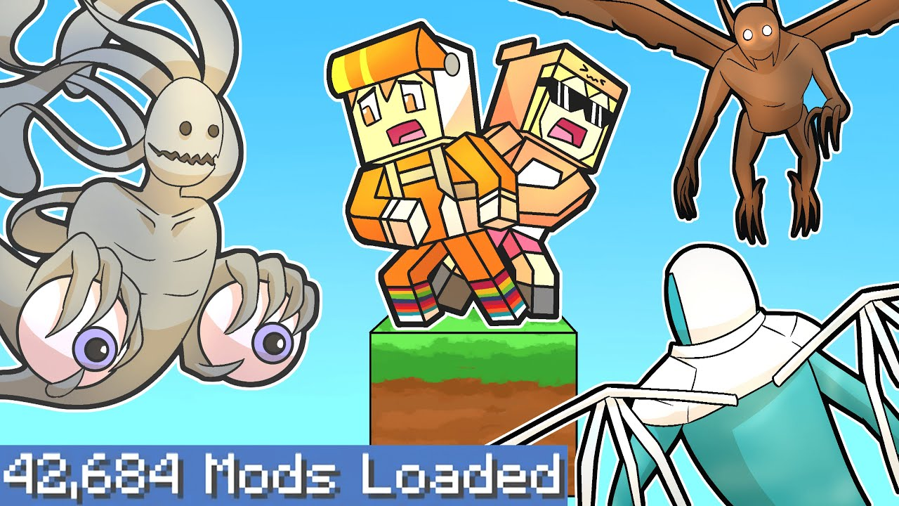 Minecraft one block skyblock but on the LARGEST MODPACK