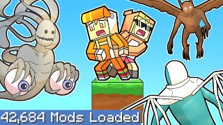 Download Minecraft one block skyblock but on the LARGEST MODPACK