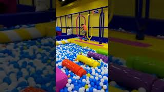 Many Soft Obstacles Above Balls Inside Soft Playground Area