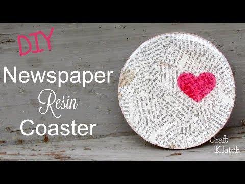 Newspaper Heart Resin Coaster   Another Coaster Friday   Craft Klatch