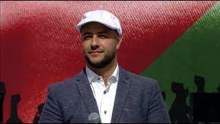 ماهر زين ينشد فلسطين ستغدو حرة في تجمّع لنصرة القدس بحضور الرئيس التركي اردوغان في اسطنبول.