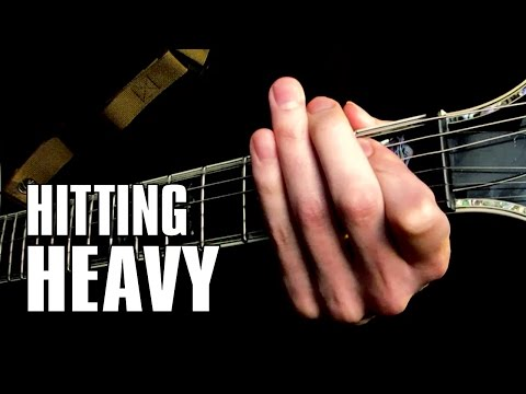 Heavy rhythm tip: Ending E5 in (palm muted) slide & pull-off