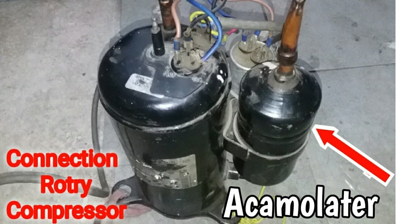 rotary compressor connection with capacitor and vacuum pump make [ 1280 x 720 Pixel ]